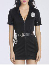 Trendy Women's Plunging Neck Police Dress Costume
