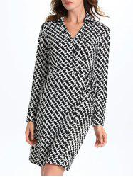 Geometric Print Long Sleeve Wrap Work Dress
