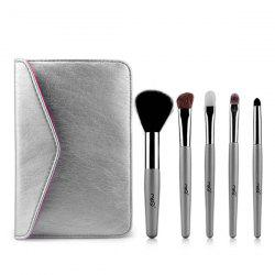 Stylish 5 Pcs Goat Hair Horsehair Facial Eye Makeup Brushes Set with Storage Package