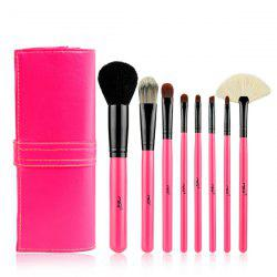 Stylish 8 Pcs Goat Hair Fiber Facial Eye Lip Makeup Brushes Set with Storage Package -