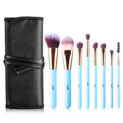 Stylish 8 Pcs Fiber Facial Eye Makeup Brushes Set with Brush Bag