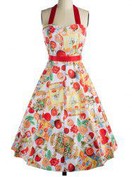 Retro Fruit Print Backless Tied Dress For Women -