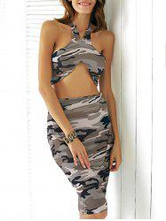 Camo Halter Crop Two Piece Club Dress
