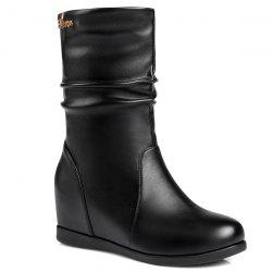 Fashionable Hidden Wedge and Ruched Design Mid-Calf Boots For Women