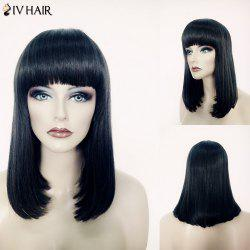Elegant Medium Siv Hair Full Bang Straight Bob Style Jet Black Capless Human Hair Wig For Women