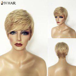 Shaggy Natural Straight Siv Hair Capless Shot Layered Blonde Mixed Human Hair Wig For Women -