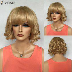 Noble Full Bang Short Capless Siv Hair Fluffy Curly Real Natural Hair Wig For Women