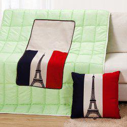 High Quality Foldable Iron Tower Pattern Dual-Purpose Cushion Quilt -