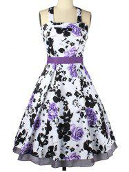 Halter Neck Bowknot Floral Cocktail Dress