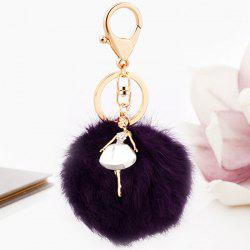 Faux Fur Ball Dancing Girl Keyring -