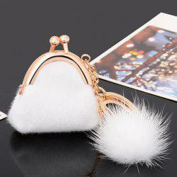 Mini Bag Faux Fur Ball Embellished Keyring