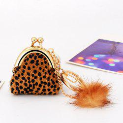 Faux Fur Dot Mini Bag Shape Keyring - COFFEE