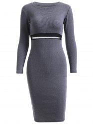 Long Sleeve Sheath Knit Dress For Work