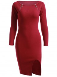 Simple Zipper Pure Color Slit Knitted Sheath Dress -