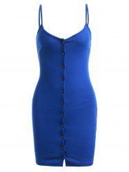 Button Up Sweater Tank Bodycon Dress - SAPPHIRE BLUE