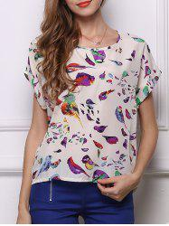 Charming Bird Print Chiffon Loose-Fitting Women's Blouse - WHITE
