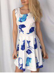 Casual Scoop Neck Sleeveless Floral Print Hollow Out Women's Dress -