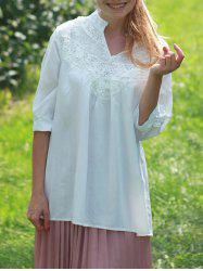 Casual Lace Splicing Crochet Flower 1/2 Sleeve Women's Blouse -