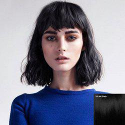 Exquisite Short Fluffy Women's Human Hair Straight Slightly Curled Full Bang Wig -