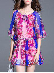 Charming Batwing Sleeve Floral Print Cut Out Women's Dress -