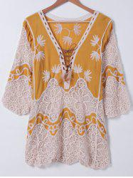 Bohemian Crochet Patchwork Lace-Up Blouse