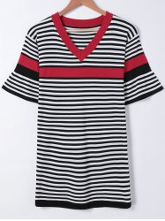 Trendy Hit Color Bell Sleeves Striped Dress -