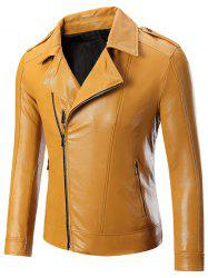 Epaulet Zippered Lapel Long Sleeve Faux Leather Jacket For Men