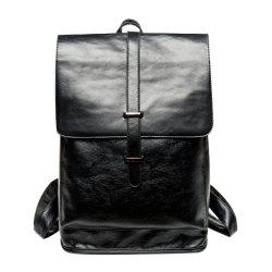 Trendy Strap and Black Color Design Backpack For Men -