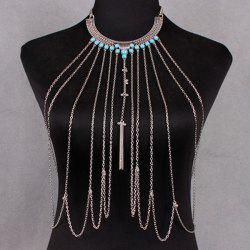 Vintage Faux Turquoise Necklace Beach Full Body Jewelry Chain - SILVER