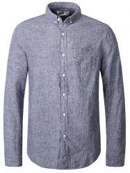 Turn-Down Collar Button-Down Linen Shirt For Men -