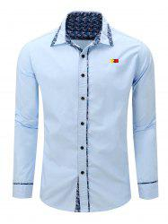 Embroidery Floral Print Splicing Turn-Down Long Sleeve Shirt For Men