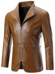 Zippered Long Sleeve Embossed Leather Jacket For Men -