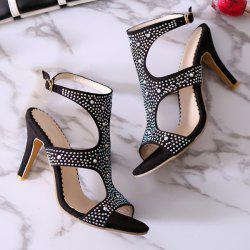 Stylish Rhinestones and Cut Out Design Sandals For Women - BLACK