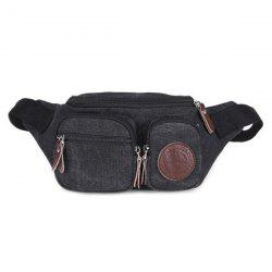 Simple Zippers and Double Pocket Design Messenger Bag For Men -