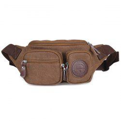 Simple Zippers and Double Pocket Design Messenger Bag For Men - COFFEE