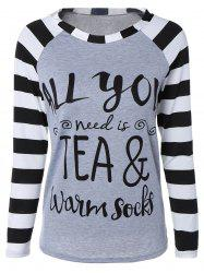 Stylish Stripe Letter Print Long Raglan Sleeve Funny Graphic Tees