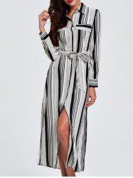 OL Vertical Stripe Belted Shirt Dress