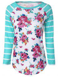 Stylish Stripe Floral Print Long Raglan Sleeve T-Shirt