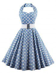 Retro Halter Sweetheart Neck Polka Dot Flare Dress - LIGHT BLUE