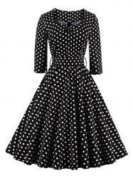Retro Sweetheart Neck Polka Dot Printed Flare Dress