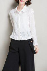 Openwork Ruffles Cotton Shirt