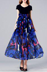 Pleated Floral Maxi Short Sleeve Swing Dress -