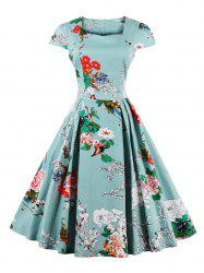 Retro Sweetheart Neck Cape Sleeve Floral Print Flare Dress - LIGHT BLUE