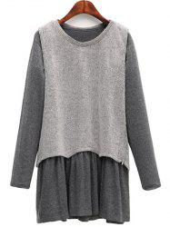 Casual Knitted Tank Top + Long Sleeve Dress Plus Size Twinset -