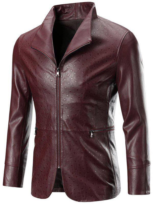 New Zippered Long Sleeve Embossed Leather Jacket For Men