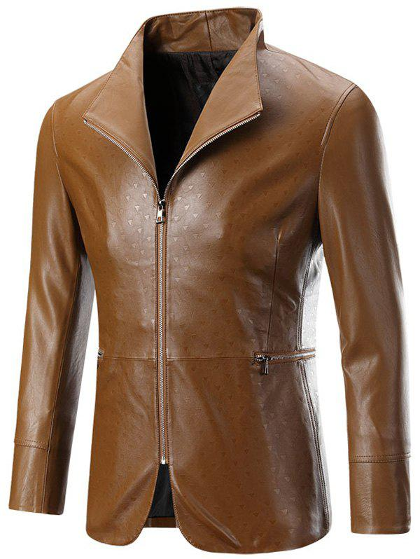 Affordable Zippered Long Sleeve Embossed Leather Jacket For Men