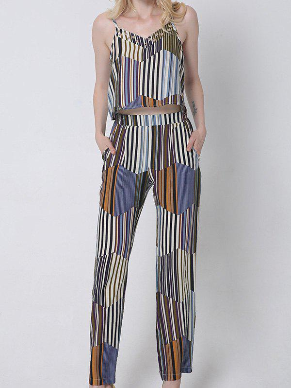 Shops Casual Hit Color Tank Top and Striped Pants Set For Women