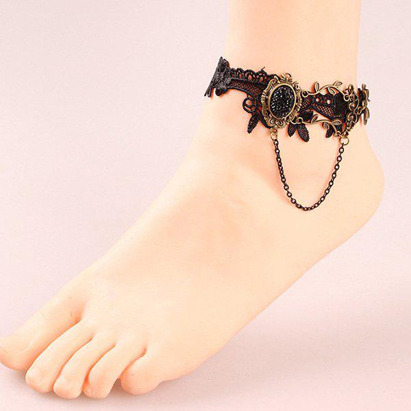 Cheap Leaf Bowknot Rhinestone Lace Crochet Anklet