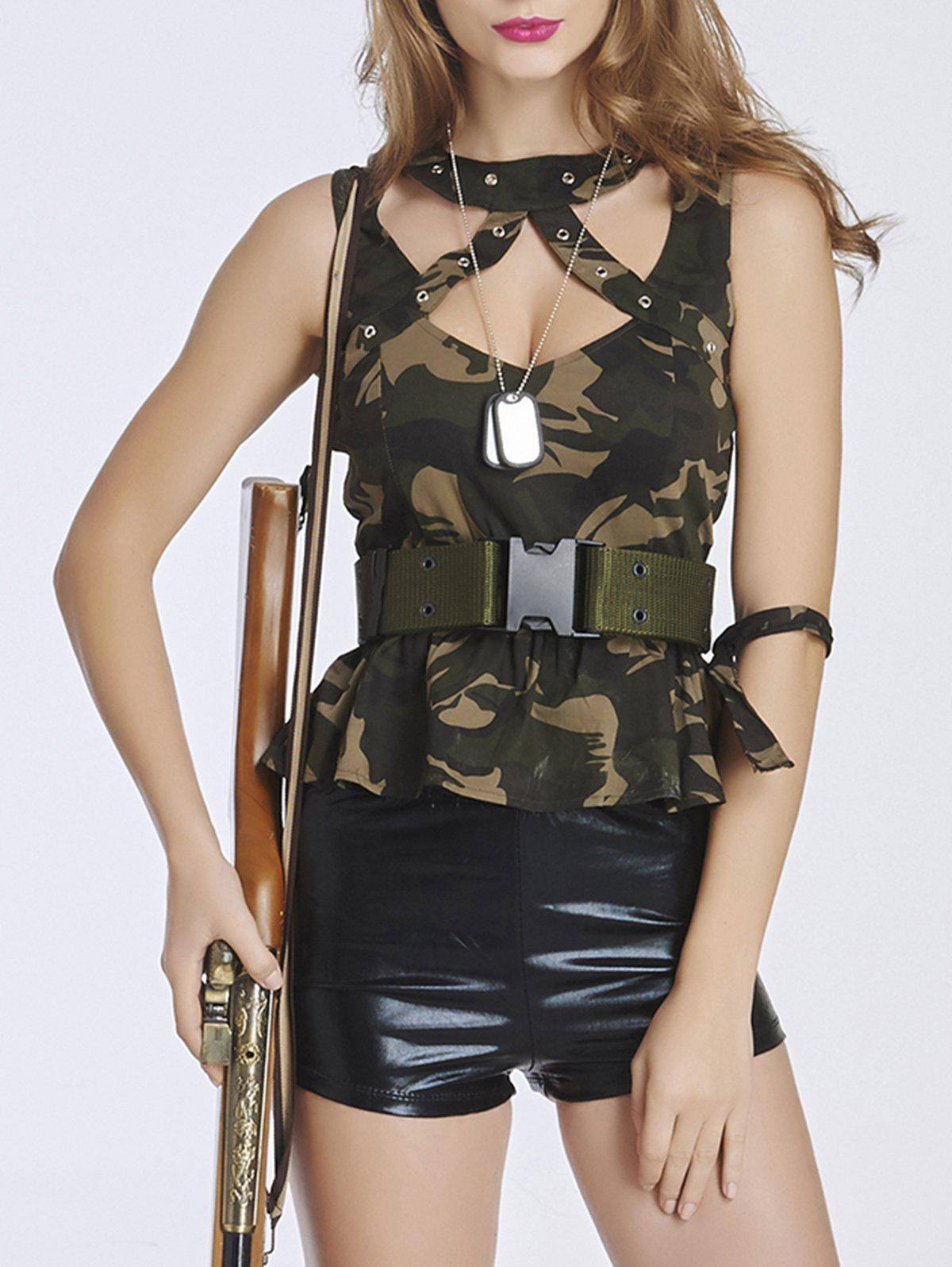 Best Chic Women's Camo Spliced Military Costume