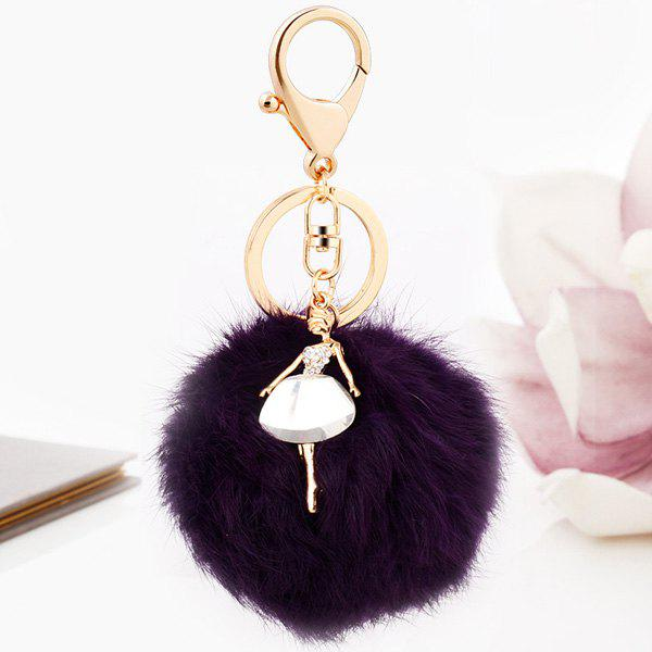 Faux Fur Ball Dancing Girl KeyringJEWELRY<br><br>Color: DEEP PURPLE; Gender: For Women; Style: Trendy; Pattern Type: Ball; Weight: 0.052kg; Package Contents: 1 x Keyring;